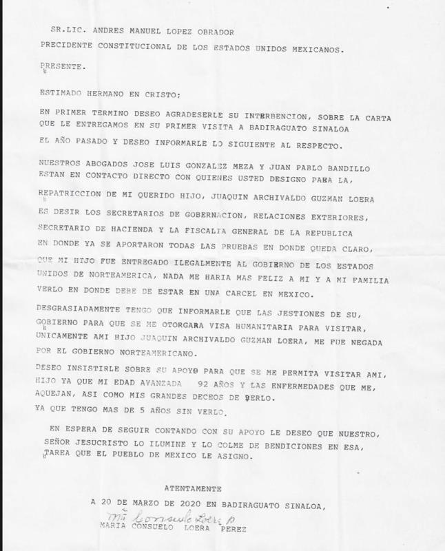 """AMLO hace pública la carta que le entrega mamá de """"El Chapo"""""""