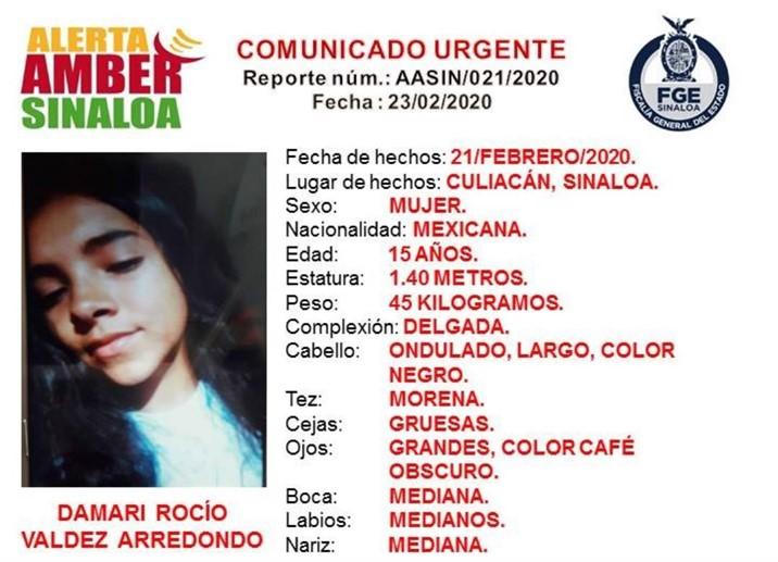 Desaparece otra jovencita en Culiacán; buscan a Damari Rocío