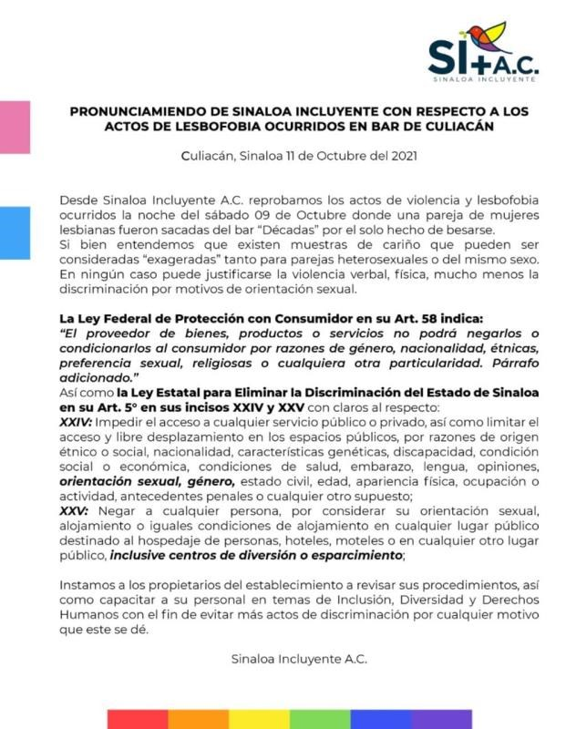 Pronunciamiento de Sinaloa Incluyente sobre actos de lesbofobia en bar de Culiacán