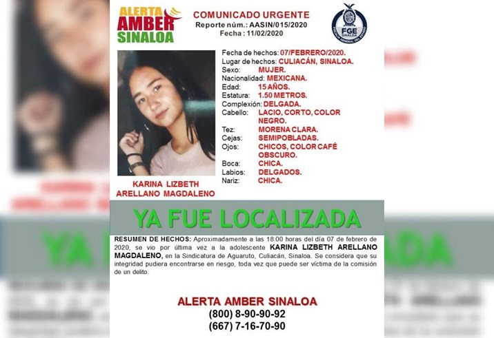 Desactivan Alerta Amber por localización de jovencita