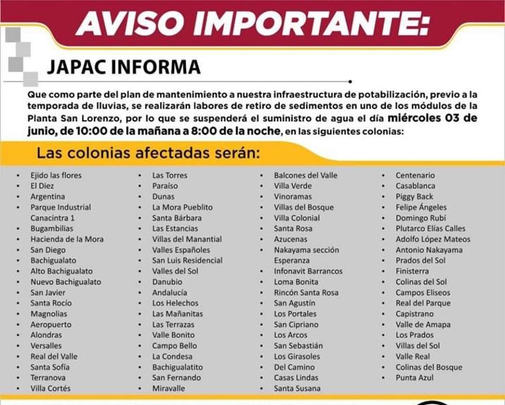 ¡AVISO! Este miércoles no habrá servicio de agua al sur-poniente de Culiacán