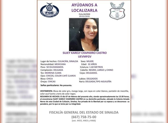 Buscan en Culiacán a mujer privada de la libertad por su esposo