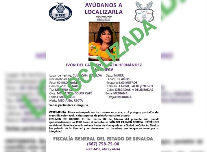 Localizada, mujer que fue 'levantada' en Culiacán
